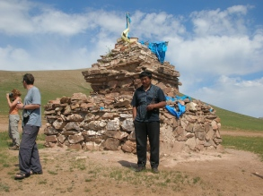 """You must always go around clockwise three times,"" Baagii explained as he jumped out, shaking his wet hands to dry them. ""For a safe journey. It's like a shrine and it is symbolic of the open sky and Tengger, the sky spirit Genghis Khan prayed to before he came to power. Also makes good reference point,"" he added, admitting that he knew this ovoo."