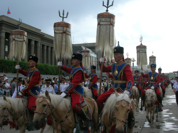 red horse tails, Ulaan Baatar.