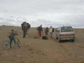 """We left the van there in the desert after loading our gear onto the backs of Chewy and the horse."" - Gobi Desert"