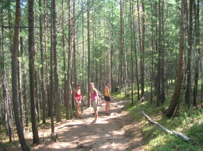 A great day of hiking In Siberian forest