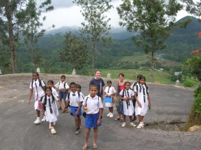 Walking with the school kids - Ella