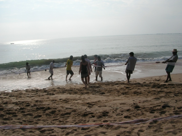 Bringing in the fishing nets - Tangalla