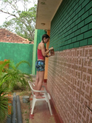 Bre helping with the paint - Tangalla
