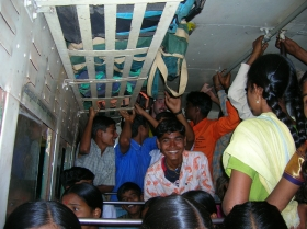 Cramped bus ride Hospit