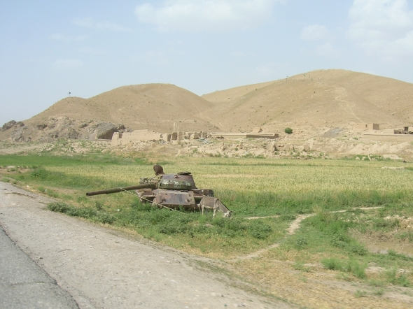 Fighter helicopters and abandoned tanks are a common sight in the countryside.