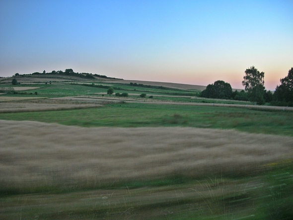 Pretty countryside early morning drive