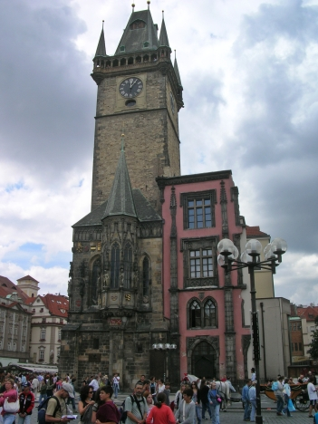 Town square famous clock - Prague