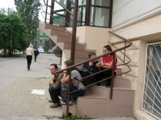 Waiting for our host - Chisinau