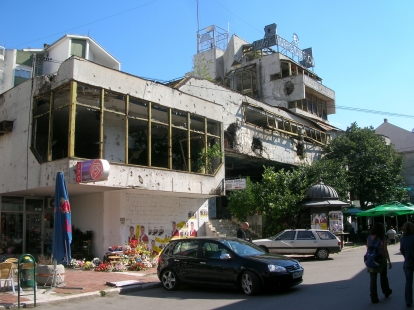Remnants or war still remain. Mostar, Bosnia