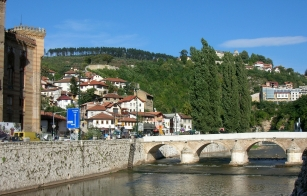 Miljacka River with lovely bridges. Sarajevo, Bosnia