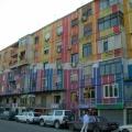 Very colourful apartments in Tirana, Albania