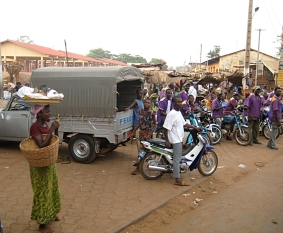 Busy streets and curious people, Benin