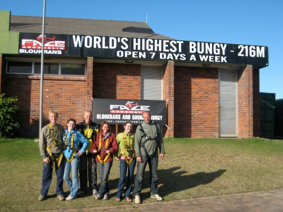 Bungy jumpers all ready to go- Stormsriver