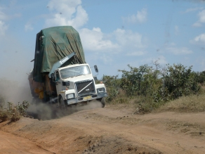 Very dusty bumpy highways throughout Angola