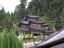 A temple with many curved and then pointed roofs exuded spirituality.