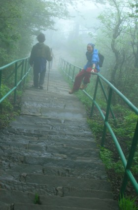 """Another million and a half stairs extending endlessly on into the fog."" - Emei Shan"