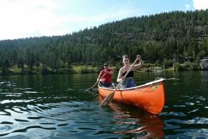 Savannah and Kees canoeing Loon Lake, BC