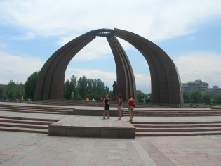 Bishkek, Kyrgyzstan. backpacks and bra straps.