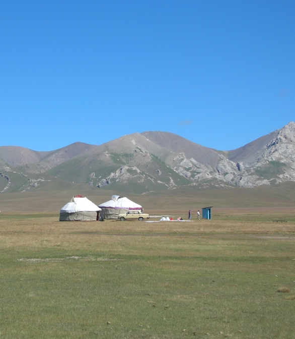 yurt in Kyrgyzstan, backpacks and bra straps.