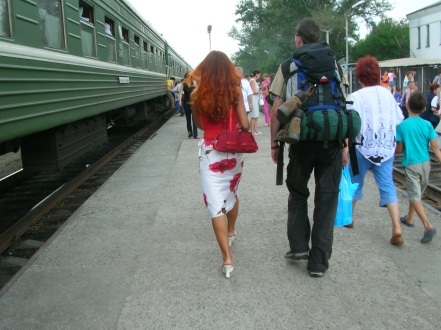 Semey, Kazakhstanbackpacks and bra straps. Semey, Kazakhstan