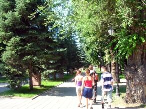 Almaty, Kazakhstan. backpacks and bra straps.