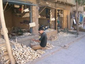 wood shop Kashgar, China
