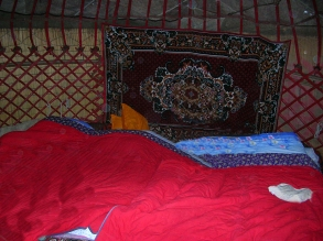 inside a yurt. Backpacks and Bra Straps