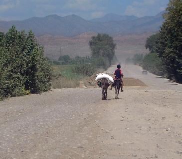 a lone boy in rural Kyrgyzstan