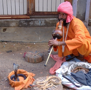 Snake charmer in Kathmandu, Nepal. Backpacks and Bra Straps