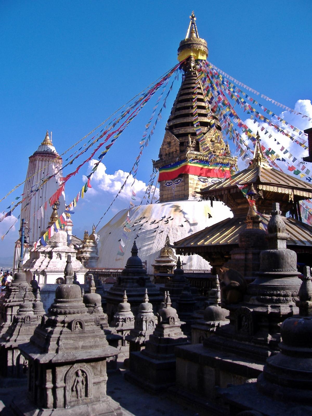 Stupa in Kathmandu, Nepal. Backpacks and Bra Straps
