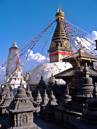 Stupa in Kathmandu, Nepal. Backpacks and Bra Straps