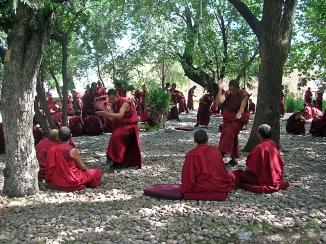 Monks debating Tibet. Bacipacks and Bra Straps