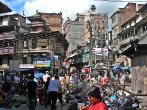 Kathmandu, Nepal. Backpacks and Bra Straps