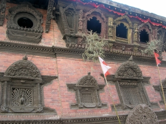 Royal Kumari, Kathmandu, Nepal. Backpacks and Bra Straps