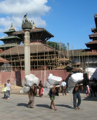 people carrying heavy loads, Kathmandu, Nepal. Backpacks and Bra Straps