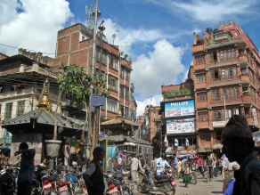streets of Kathmandu, Nepal. Backpacks and Bra Straps