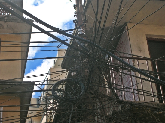 crazy wiring in Kathmandu, Nepal. Backpacks and Bra Straps