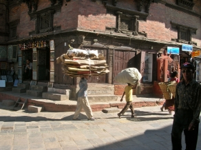 carrying heavy loads. Kathmandu, Nepal. Backpacks and Bra Straps