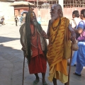 Holymen in Kathmandu, Nepal. Backpacks and Bra Straps