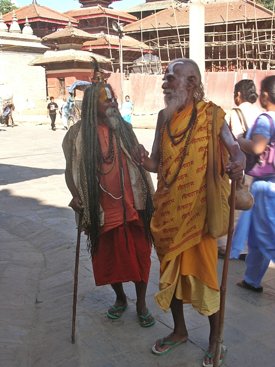 Holymen in Kathmandu, Nepal. Backpacks and Bra Straps