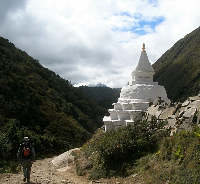 Stupa in Himalayas, Nepal. Backpacks and Bra Straps