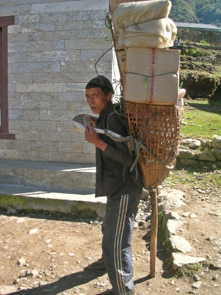 Himalayas, Nepal. Backpacks and Bra Straps