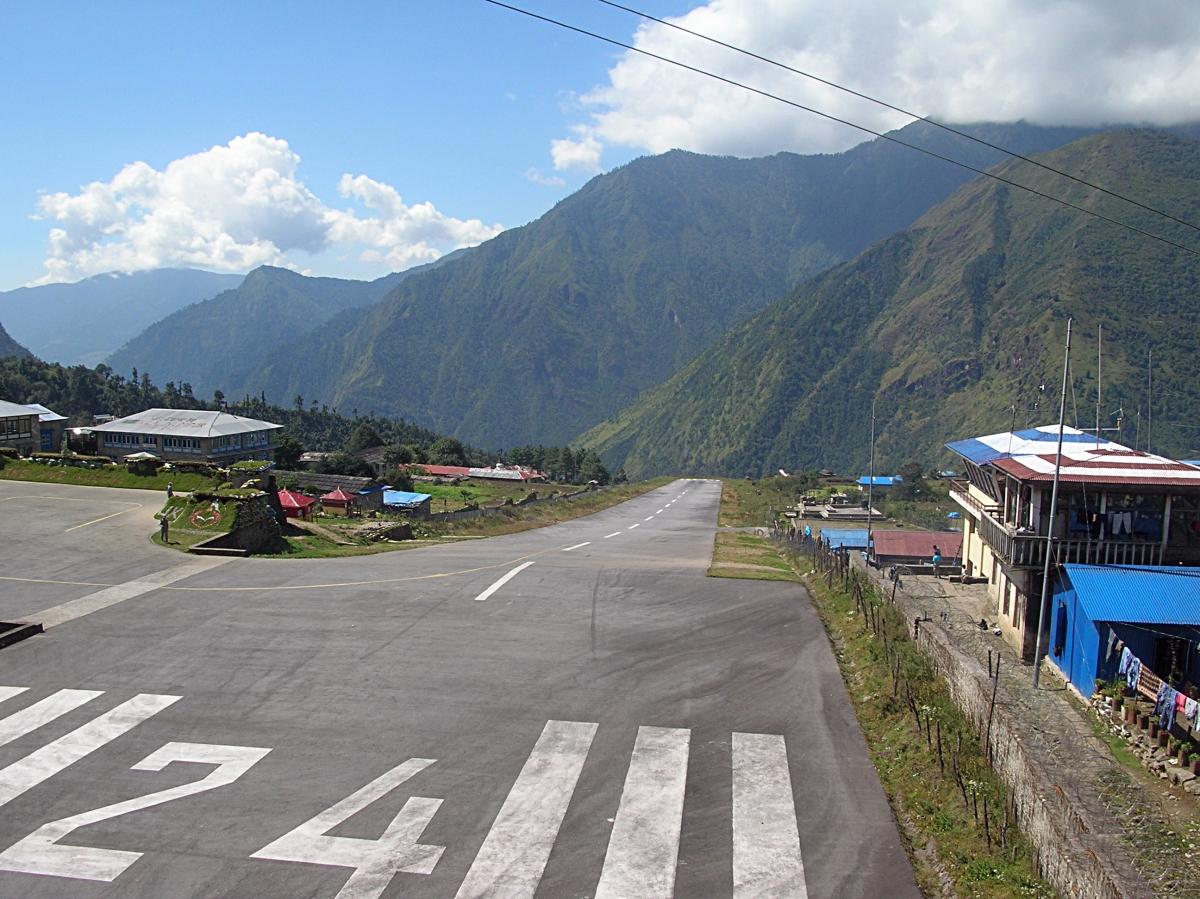 Lukla ruway, Nepal. Backpacks and Bra Straps