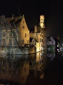 Brugge, Belgium by night.
