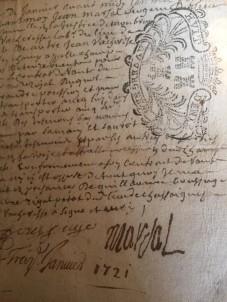 Villesiscle, France,  old french script