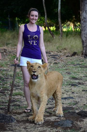 Lion walk Mauritius, Africa. Savannah Grace