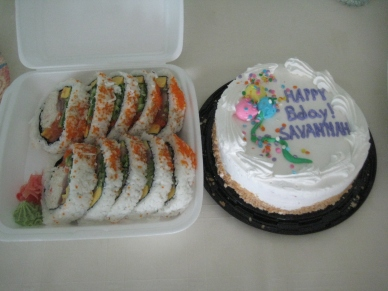 sushi, real birthday cake.