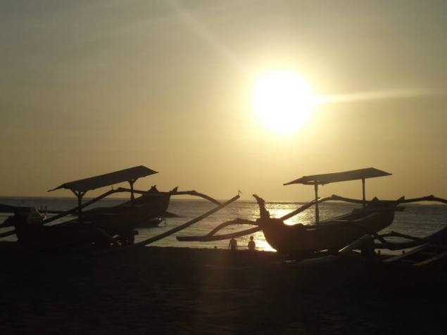 Sunset on the beach at Tuban, Bali