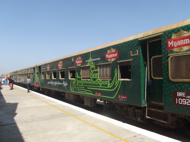 The colourful overnight train from Yangon to Bagan