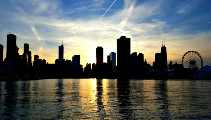 Chicago Skyline at Sunset, USA